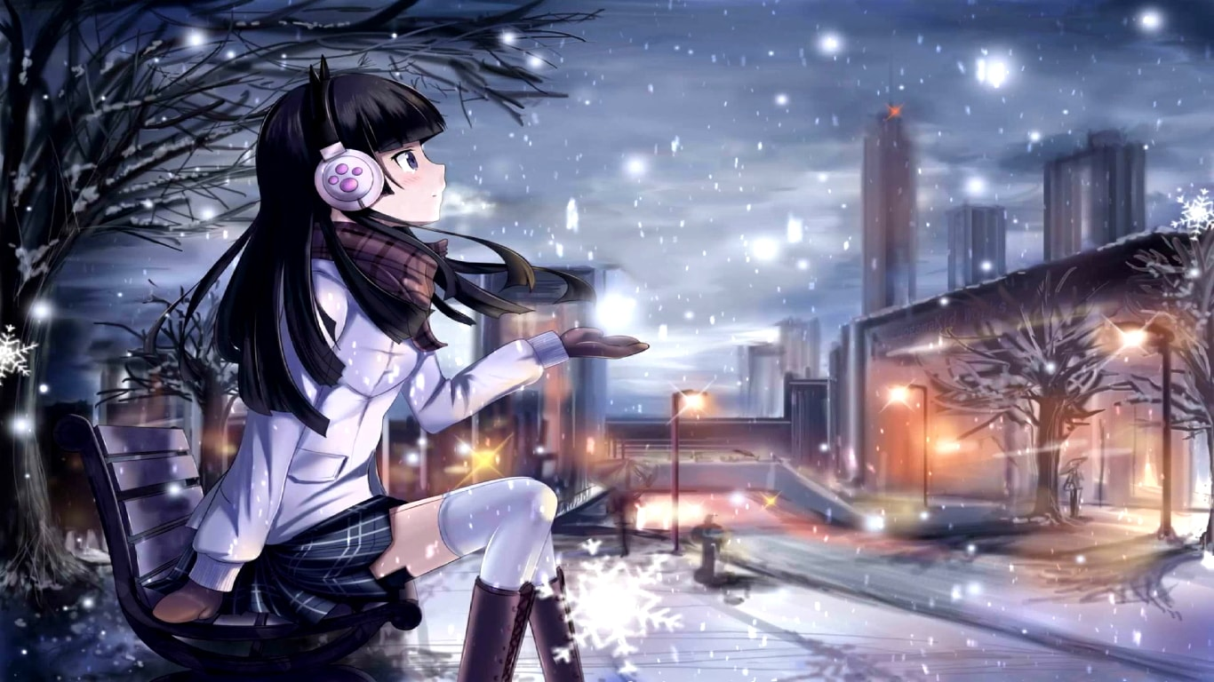 download anime girl snowfall [4k 60fps] wallpaper engine free