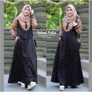 Jual Baju Busana Muslim Dress Saluni Polka