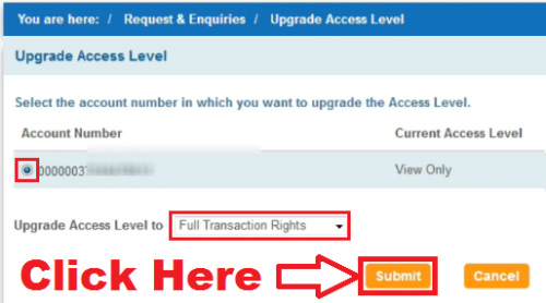 how to upgrade access level in sbi in new version