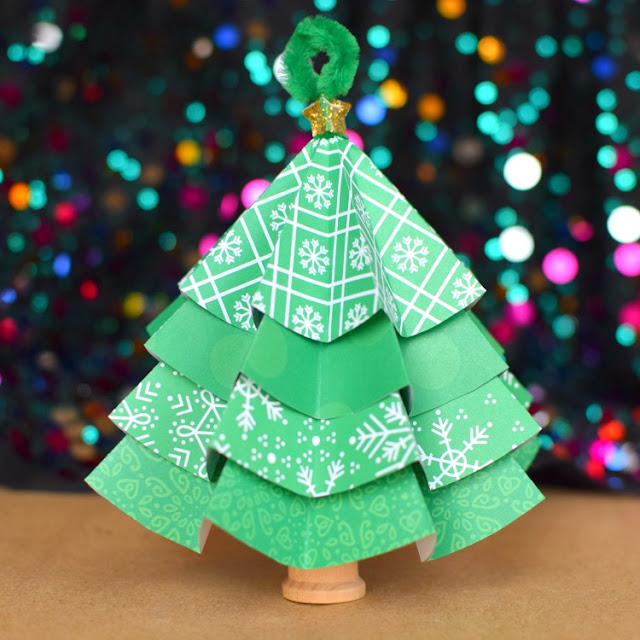 Folded Paper Christmas Tree Ornaments