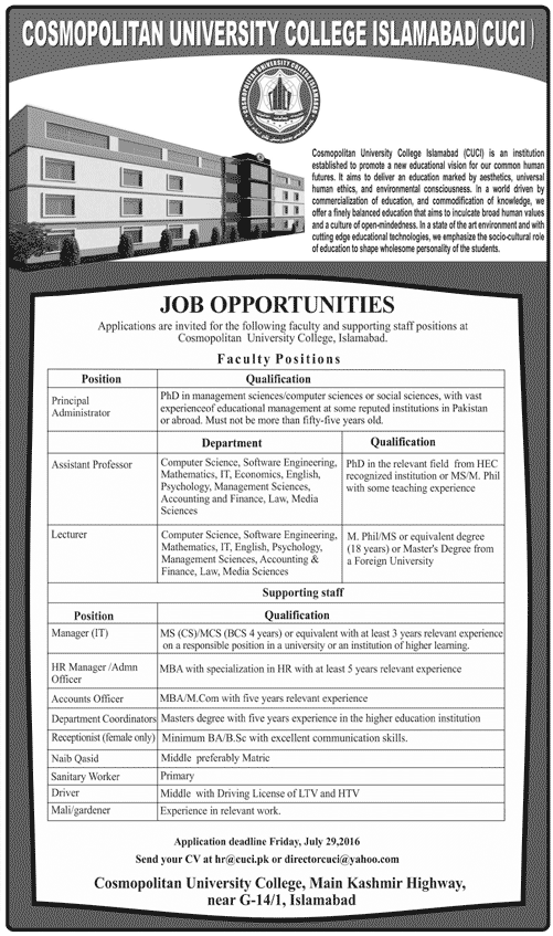 Teaching Jobs in Cosmopolitan University College Jobs in Islamabad for Various Posts
