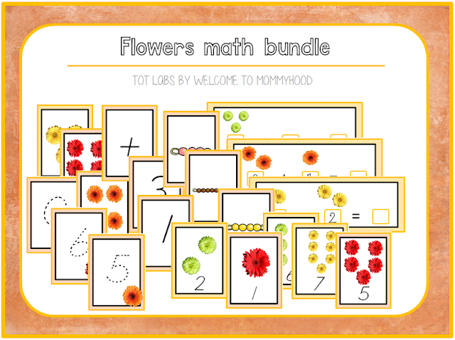 Montessori Activities for spring: flowers math learning activities by Welcome to Mommyhood #math, #montessor, #montessoriactivities, #springactivities