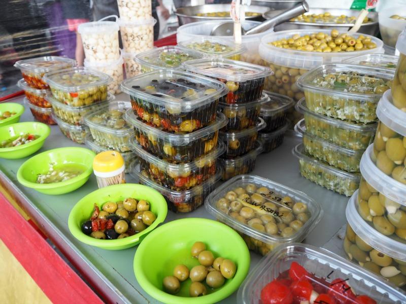 Varieties of olives at a Costa Blanca market