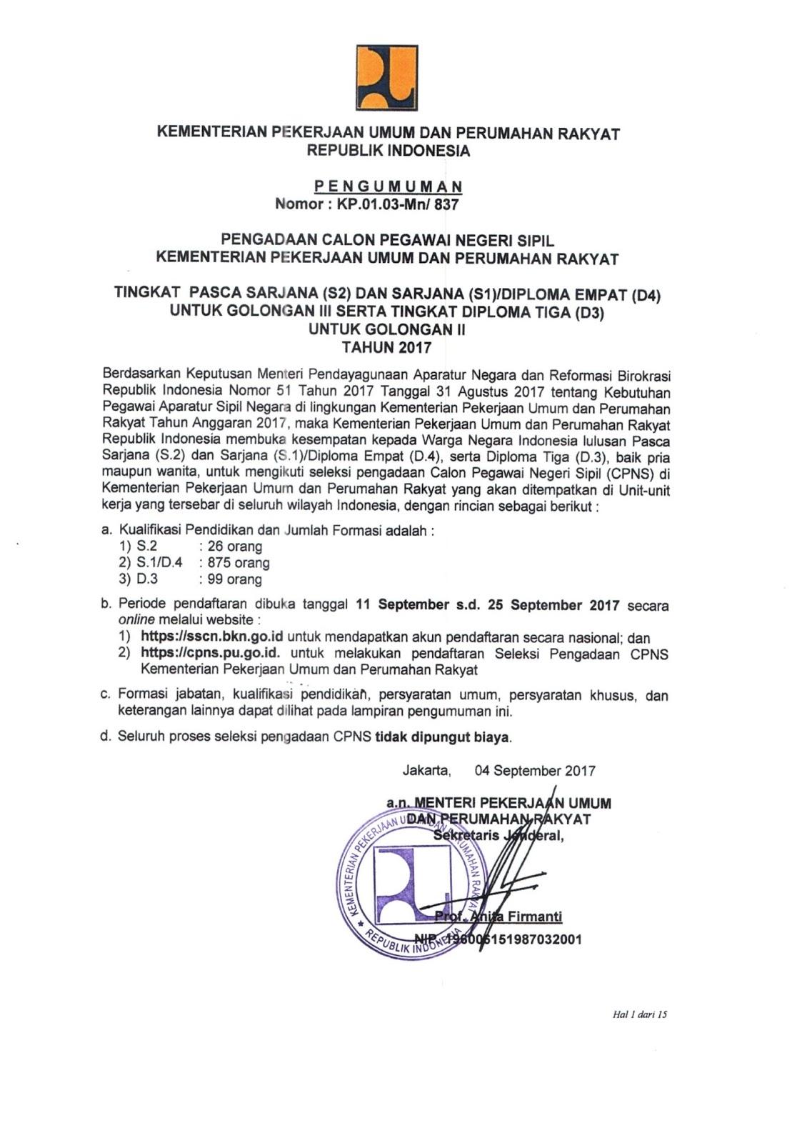 Lowongan CPNS Kementerian Pekerjaan Umum dan Perumahan Rakyat Tingkat D3 S1 S2 [1000 Formasi]