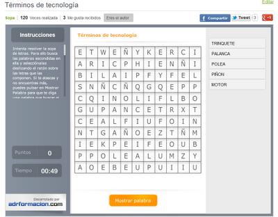 Sopa de letras para buscar términos relacionados con la tecnología