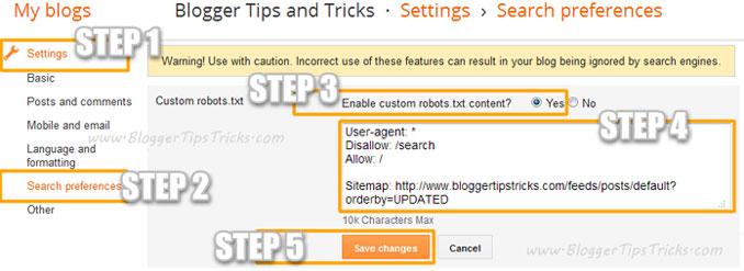 Blogger Custom Robots.txt