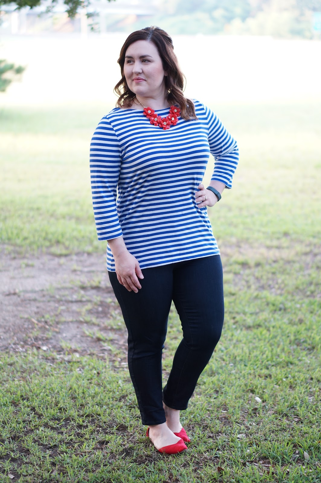 Rebecca Lately Merona Striped Boatneck Stitch Fix Just Black Ankle Jeans Old Navy D'orsay Flats Flower Statement Necklace Patriotic Colors