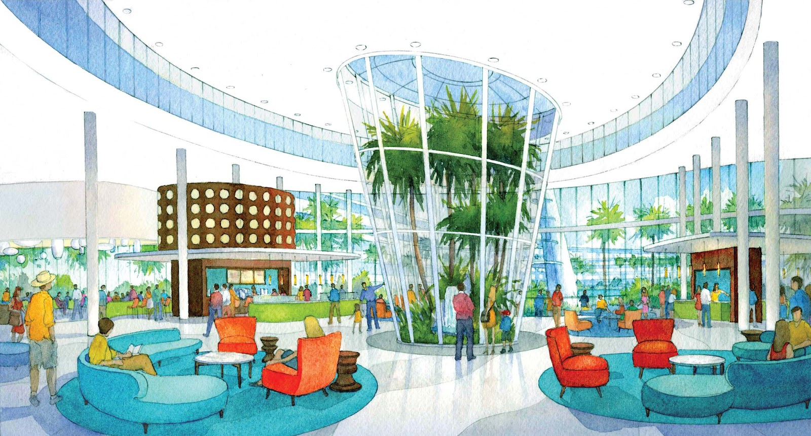 Rendering Of The Lobby Cabana Bay Beach Resort 2017 Universal Orlando All Rights Reserved