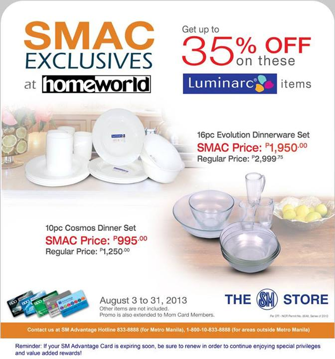 85d0687e974570 Need new set of dinnerware  Visit Homeworld inside The SM Store now and get  UP TO 35% OFF on Luminarc Dinner Sets from now until August 31!