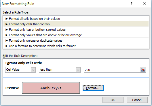 conditional formatting cells less than