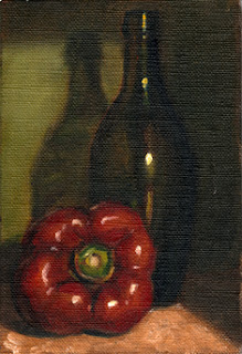 Oil painting of a red pepper beside a green flat-bottomed torpedo bottle.