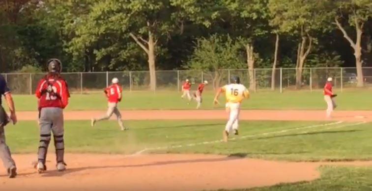 Joey Zelenka battles for a hit vs. Spring Lake
