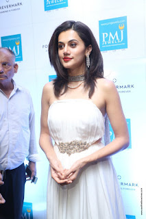 Taapsee Pannu Looks stunning in Sleeveless White Gown at launch of Forevermark diamond collection at PMJ Jewels