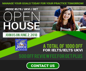 JROOZ IELTS/UKVI/OET One Day Promo  Join us on June 2, 2018   Free IELTS / IELTS UKVI / OET Orientation  IELTS: – 500 Off on Review Fee and Exam Fee A total of 1000 Off for IELTS/IELTS UKVI  OET: – 500 Off on Review Fee for OET plus – Receive free assistance in exam registration and – 50% Reimbursement Fee for OET exam coming from our Partner Recruitment Agencies (OFFER IS EXCLUSIVE TO JROOZ STUDENTS)