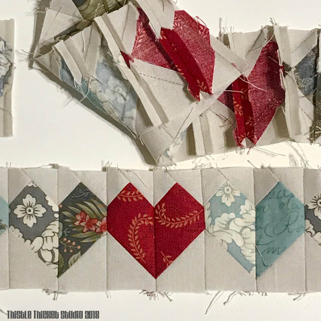 Row of Heart Blocks By Thistle Thicket Studio. www.thistlethicketstudio.com
