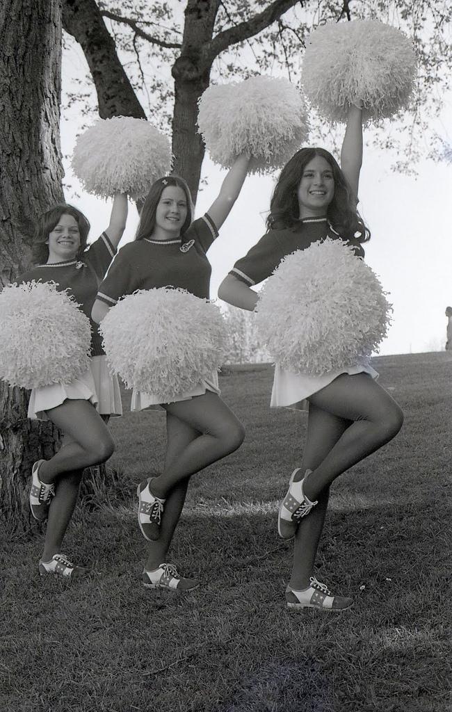 BW Photographs of Cheerleaders in 1960s  70s  vintage
