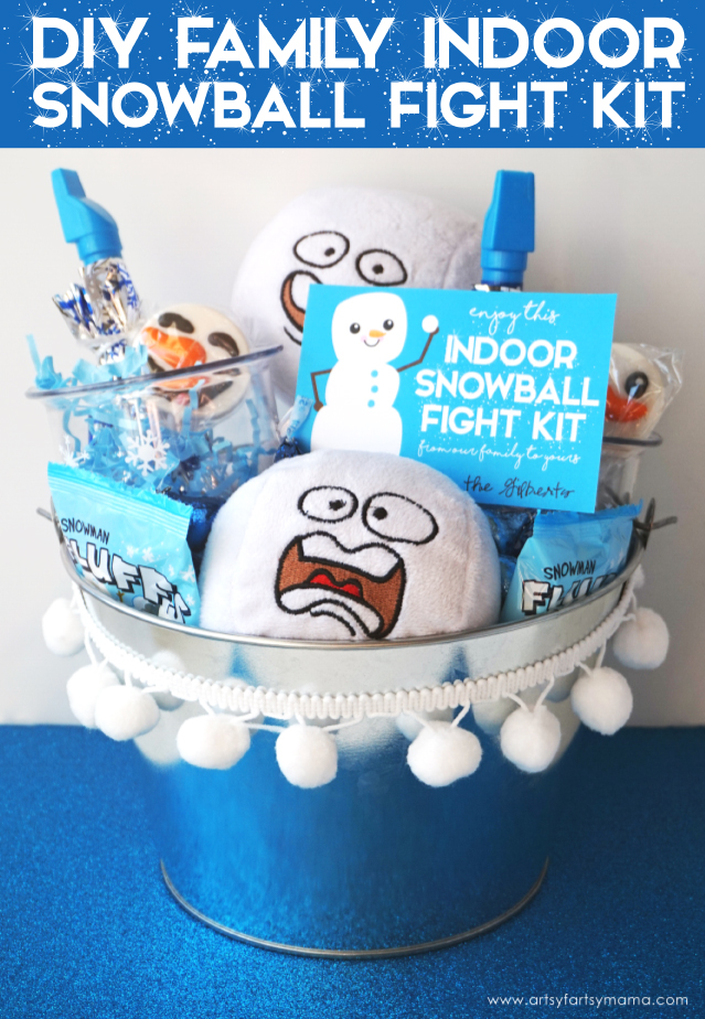 This Indoor Snowball Fight Kit with Free Printable Tag is a fun gift for kids and the perfect idea for a night of family fun!