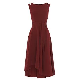 Karen Millen crepe midi dress with double shoulder strap and belt in burgundy red