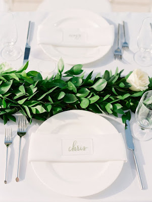 table setting with names