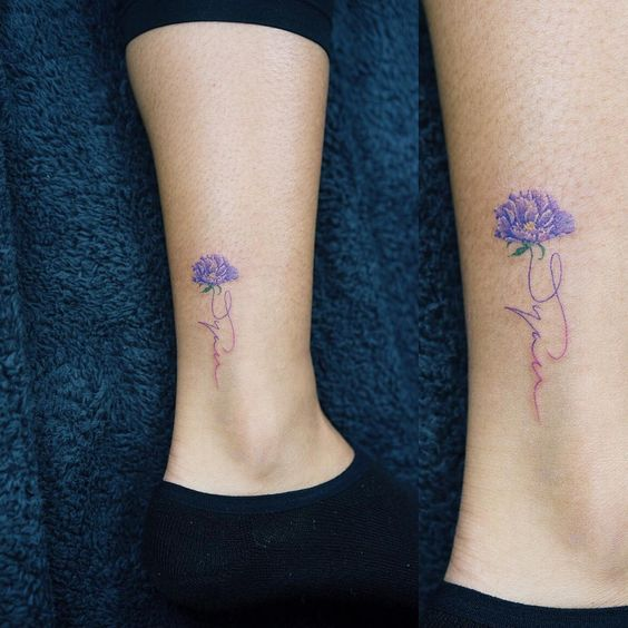 Colorful Flower Tiny Tattoos