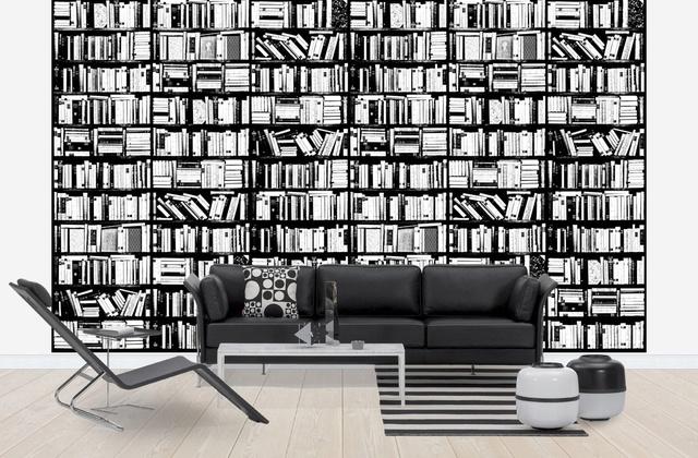 Kirjahylly Tapetti Tapettikirja Mustavalkoinen