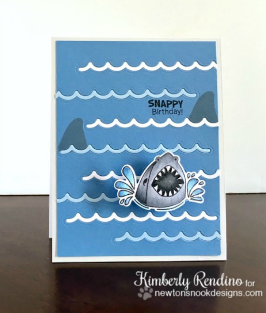 Shark Week Day 2 - Shark card by Kimberly Rendino | Shark Bites Stamp set and Die Set by Newton's Nook Designs #newtonsnook