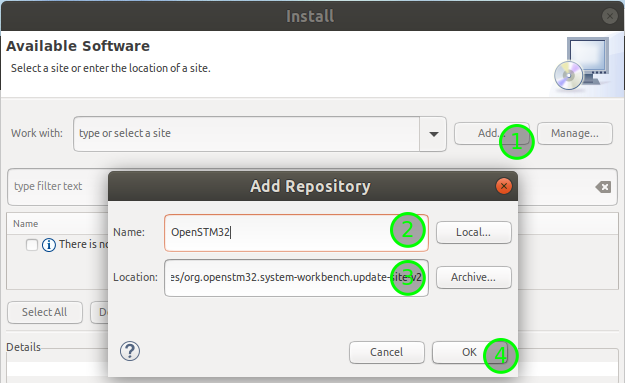 Add STM32 tools repository in Eclipse