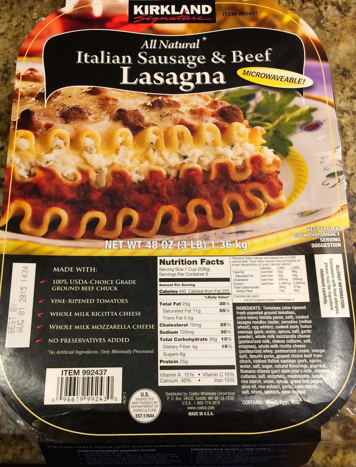 taste of hawaii kirkland italian sausage and beef lasagna