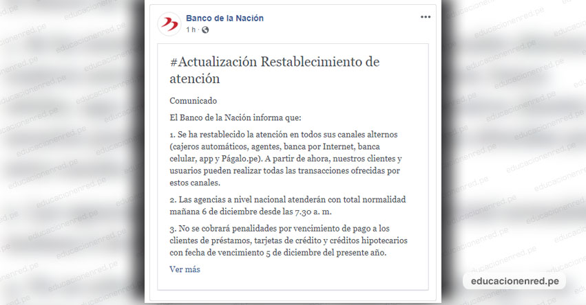 BN: Banco de la Nación restableció atención en Agencias y Canales alternos (Cajeros Automáticos, Agentes, Banca Celular y Págalo.Pe