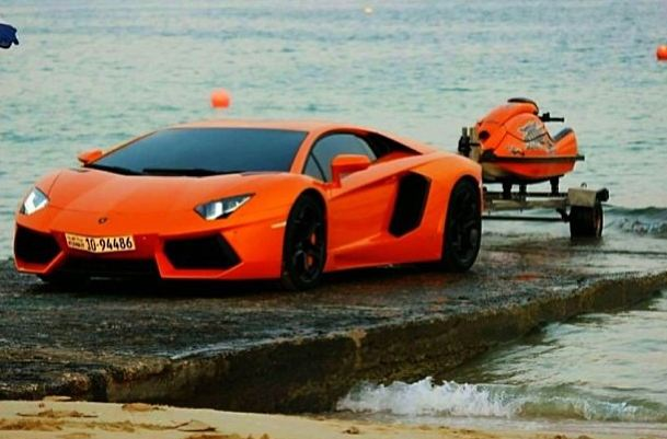 Orange Aventador Towing Jet Skit Lamborghini Jpg