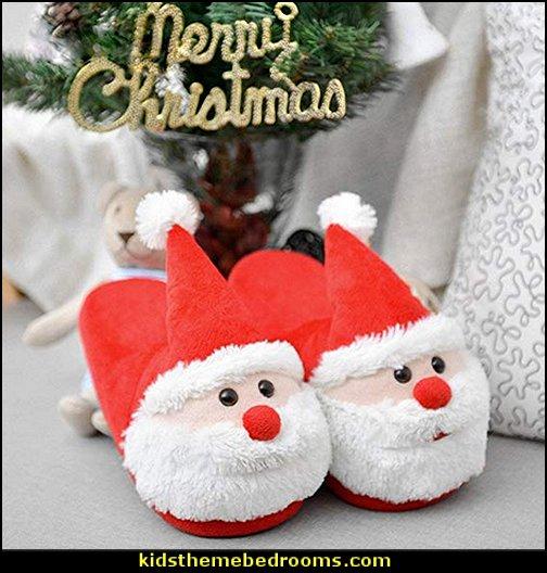 santa slippers santa clause slippers christmas pajamas