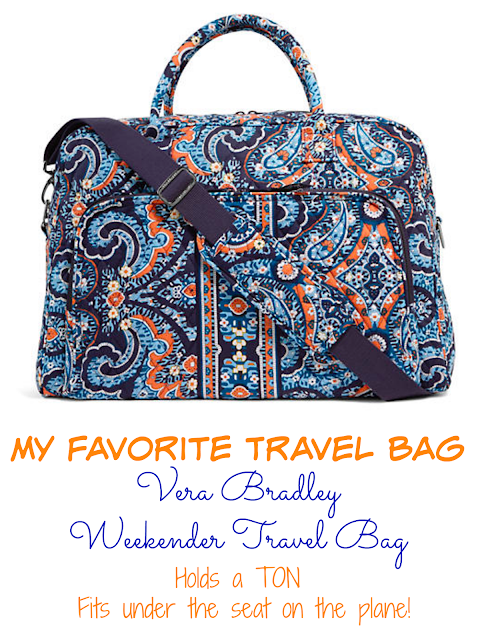 My Favorite Travel Bag - Vera Bradley Weekender Travel Bag - holds a TON and fits under the seat on the plane! Easy to carry. I can even fit my laptop in the bag. I take it everywhere! Perfect carry on bag for your flight.