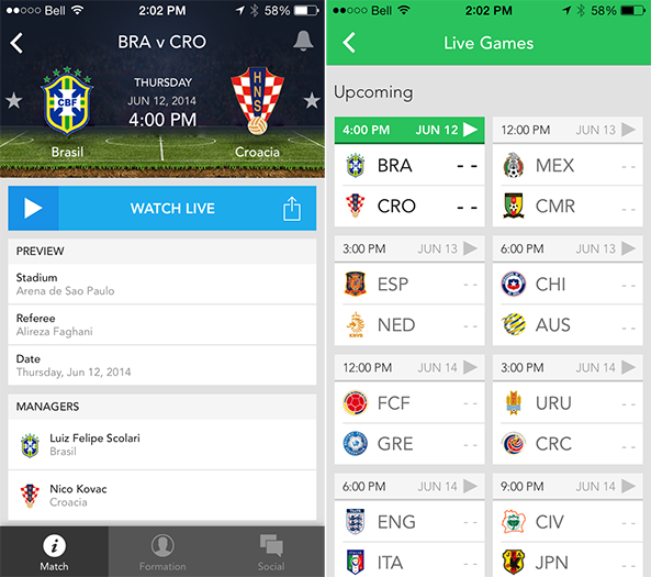 7 Best Apps to follow Schedule and LIVE streaming FIFA World Cup 2014 Brazil