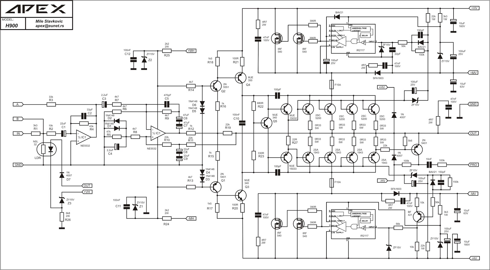 Fosti Audio Electronics Project Apex Power Amp