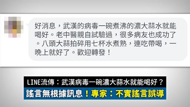 【假訊息】武漢病毒用濃大蒜水就能喝好?專家:不實謠言誤導