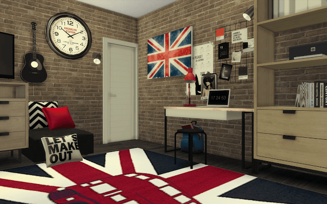 british bedroom Sims 4