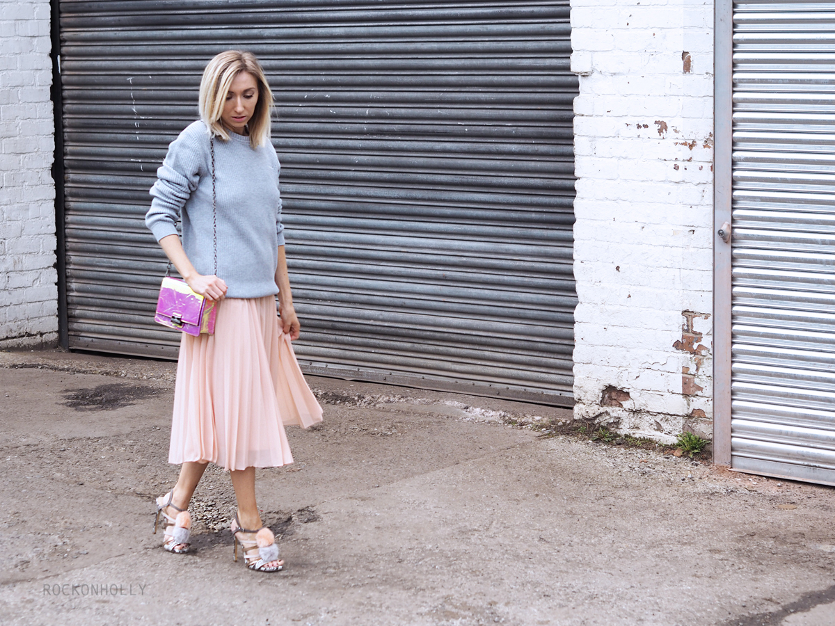 Old Harry Jumper and Pleated ASOS Skirt on Rock On Holly
