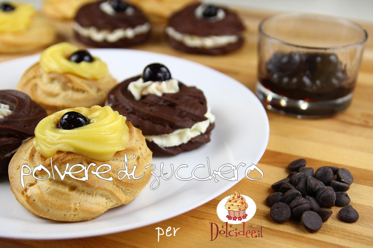 zeppole san giuseppe al forno zeppole al cioccolato ricetta tutorial passo passo polvere di zucchero dolcidee.it