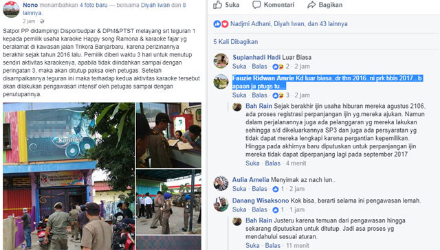 Padahal, izin operasional tempat hiburan di Jl Trikora Banjarbaru ini sudah mati sejak 2016. Anehnya, seperti kebal Perda sampai sekarang karaoke ini masih beroperasi.