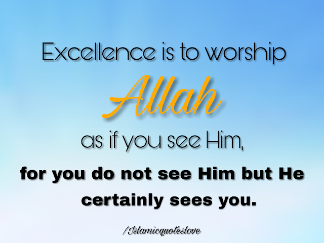 Excellence is to worship ALLAH as if you Him, for you do not see Him but He certainly sees you.