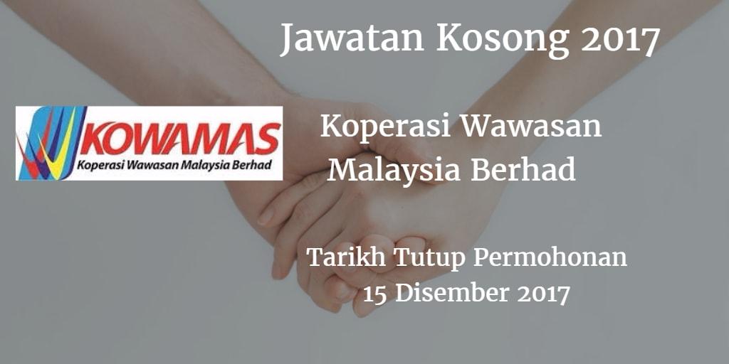 Jawatan Kosong KOWAMAS 15 Disember 2017
