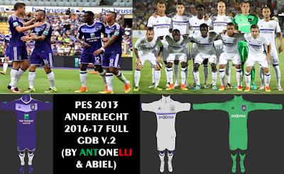 PES 2013 Anderlecht 2016-17 Full GDB V.2 (BY ANTONELLI & ABIEL)