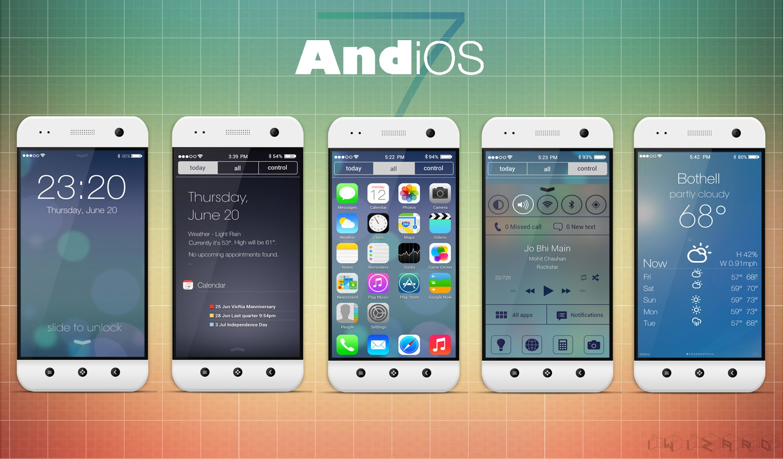 AndiOS7 - Complete IOS7 Theme For Android