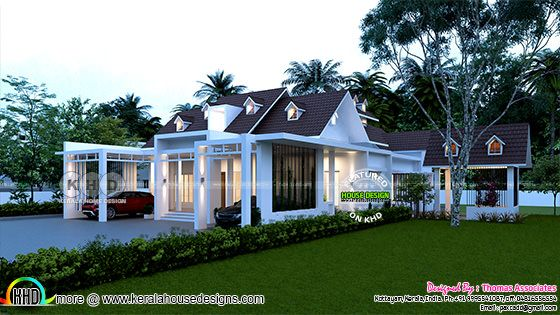 3200 sq-ft single floor house with dormer windows