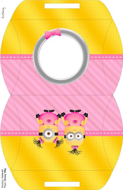 Caja almohada para imprimir gratis de Minions Chicas
