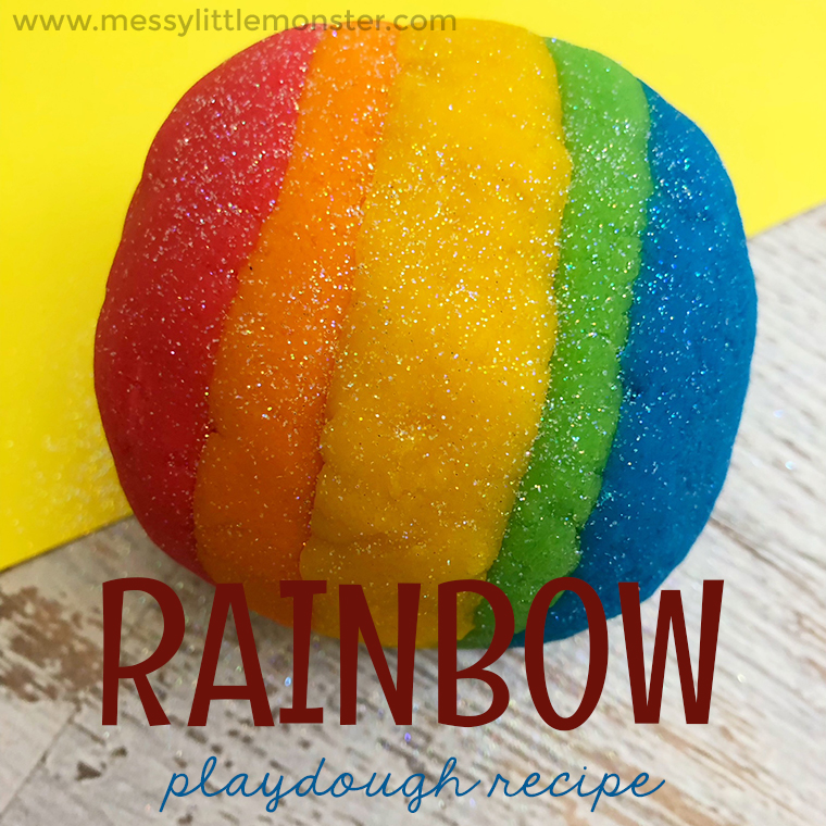Rainbow coloured playdough recipe. Make your own play dough using our easy homemade playdough recipe instructions. A rainbow theme project for toddlers, preschoolers and kids.