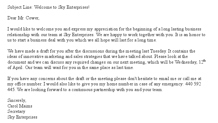 sample business email