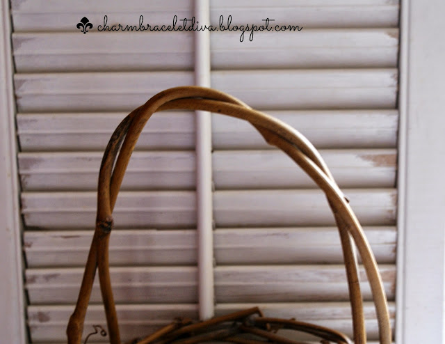 white chippy shutter grapevine basket handle