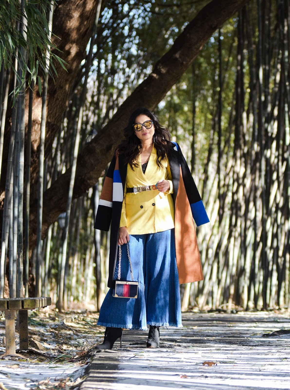 LAYERING 101- essentials you need to bundle up in style, winter layering, winter outfit, wide leg jeans, yellow double breatsed blazer, metallic stretch belt, pOinty toe sock boots, colorblock coat, myriad musings , saumya shiohare 6