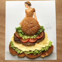 Arte con collage de comida - hamburguesas